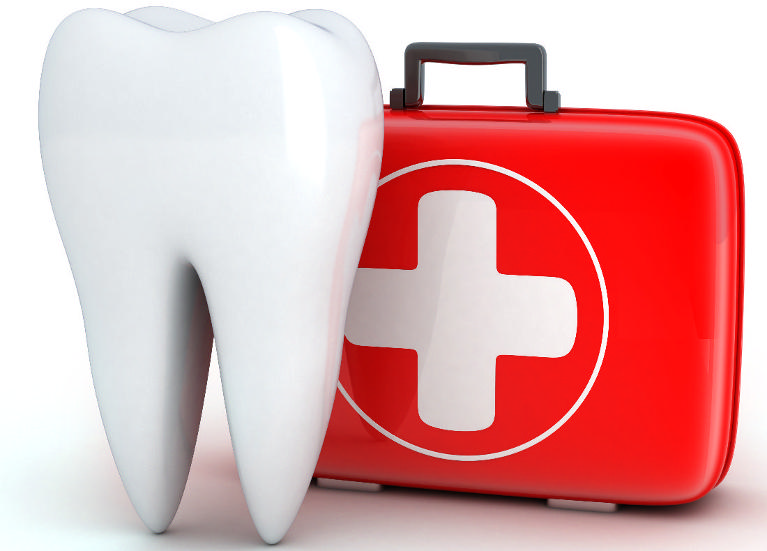 Drawing of Tooth near first aid kit | Dental Emergency Aurora IL